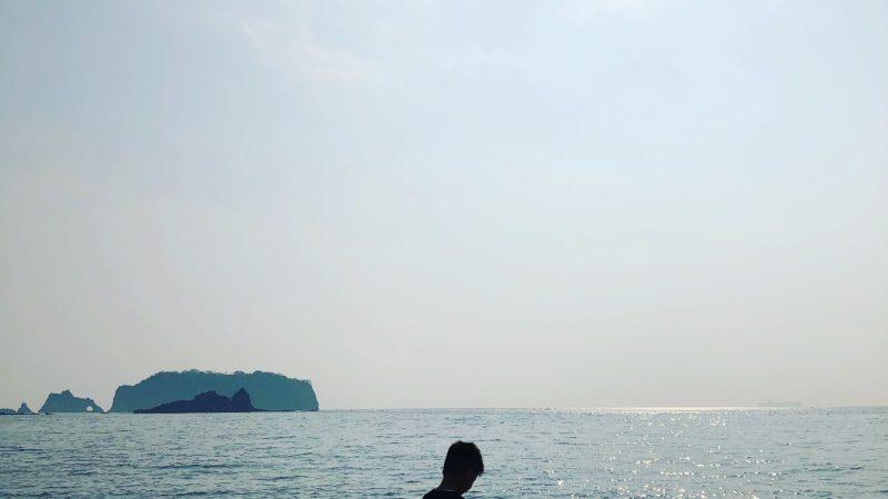 息子と海へ